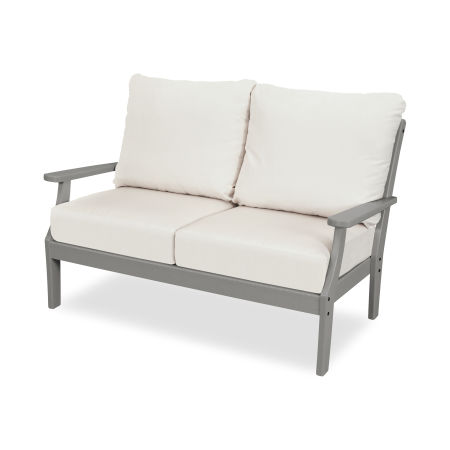 Yacht Club Deep Seating Settee in Stepping Stone / Bird's Eye