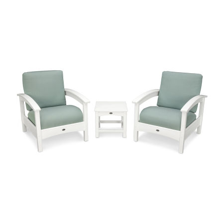 Rockport Club 3 Piece Deep Seating Conversation Set in Classic White / Spa