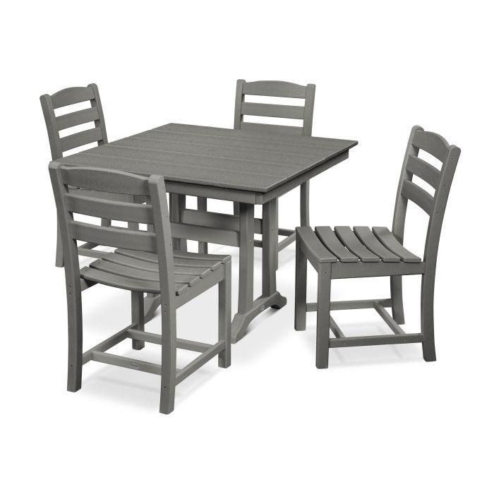 La Casa Café 5-Piece Farmhouse Trestle Side Chair Dining Set