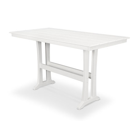"Farmhouse 37"" x 72"" Bar Table in Classic White"