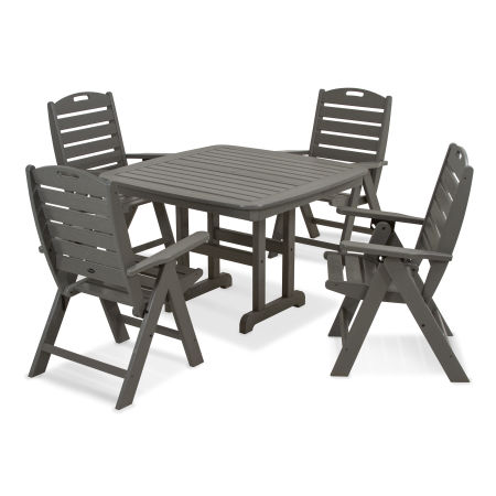 Yacht Club Highback 5-Piece Dining Set in Stepping Stone