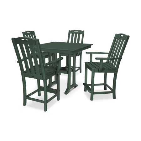 Yacht Club 5-Piece Farmhouse Arm Chair Counter Set in Rainforest Canopy