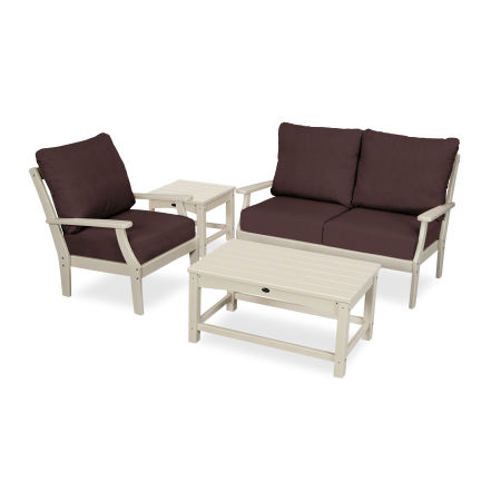 Yacht Club 4-Piece Deep Seating Set in Sand Castle / Cast Currant
