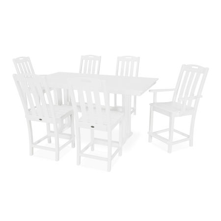 Yacht Club 7-Piece Farmhouse Counter Set in Classic White