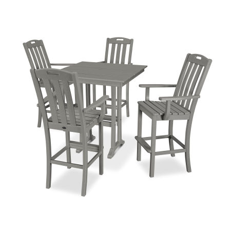 Yacht Club 5-Piece Farmhouse Arm Chair Bar Set in Stepping Stone