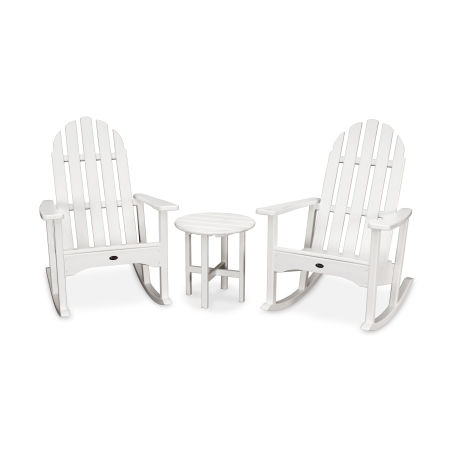 Cape Cod 3-Piece Adirondack Rocker Set in Classic White