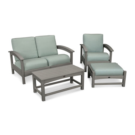 Rockport 4-Piece Deep Seating Conversation Group in Stepping Stone / Spa