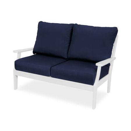 Yacht Club Deep Seating Settee in Classic White / Navy