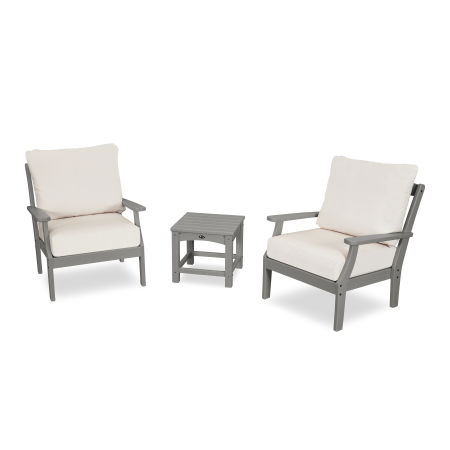 Yacht Club 3-Piece Deep Seating Set in Stepping Stone / Bird's Eye