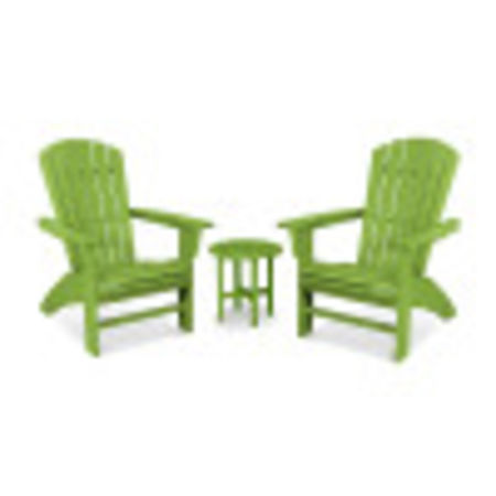 Yacht Club 3-Piece Curveback Adirondack Set in Lime