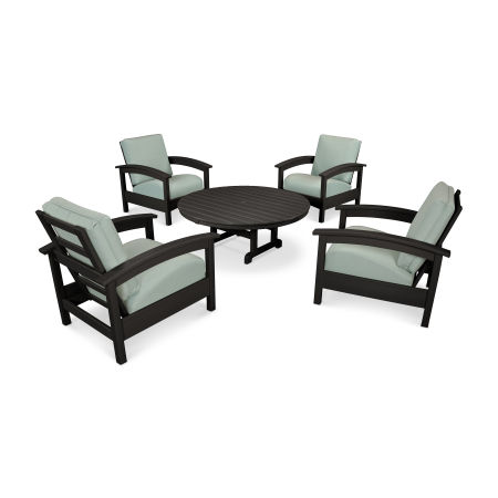 Rockport 5-Piece Deep Seating Set in Charcoal Black / Spa
