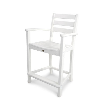 Monterey Bay Counter Arm Chair in Classic White