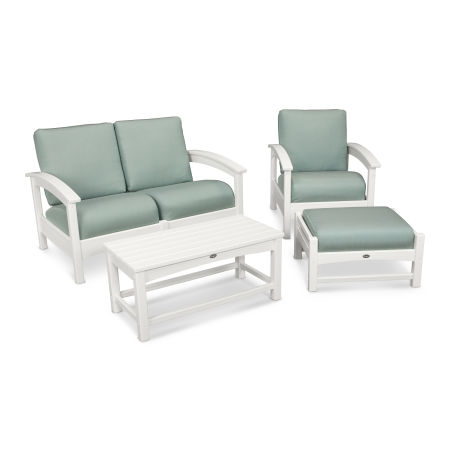 Rockport 4-Piece Deep Seating Conversation Group in Classic White / Spa