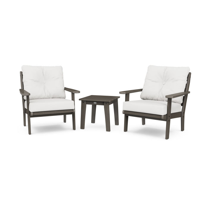 Lakeside 3-Piece Deep Seating Chair Set in Vintage Finish