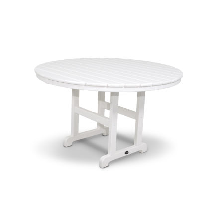 "Monterey Bay Round 48"" Dining Table in Classic White"