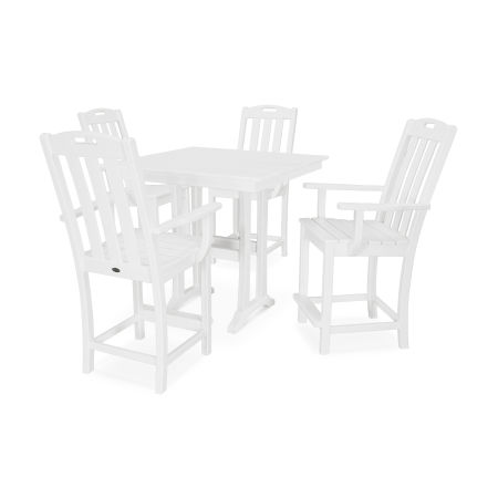 Yacht Club 5-Piece Farmhouse Arm Chair Counter Set in Classic White