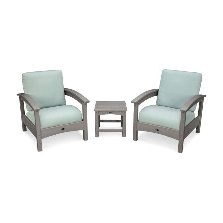 Rockport Club 3 Piece Deep Seating Conversation Set in Stepping Stone / Spa