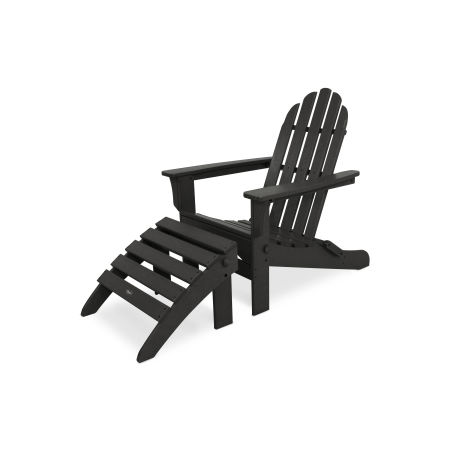 Cape Cod 2-Piece Folding Adirondack Seating Set in Charcoal Black