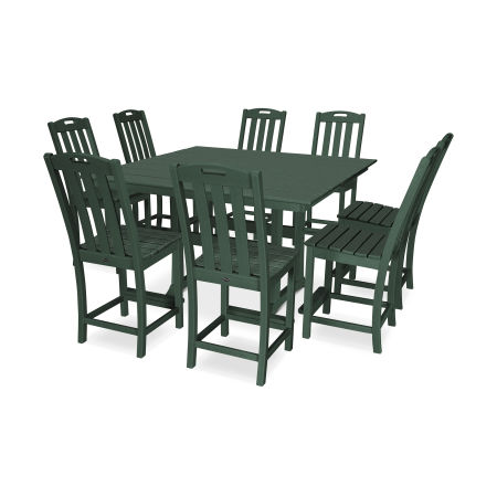 Yacht Club 9-Piece Farmhouse Side Chair Counter Set in Rainforest Canopy
