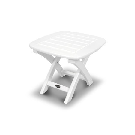 "Yacht Club 21"" x 18"" Side Table in Classic White"