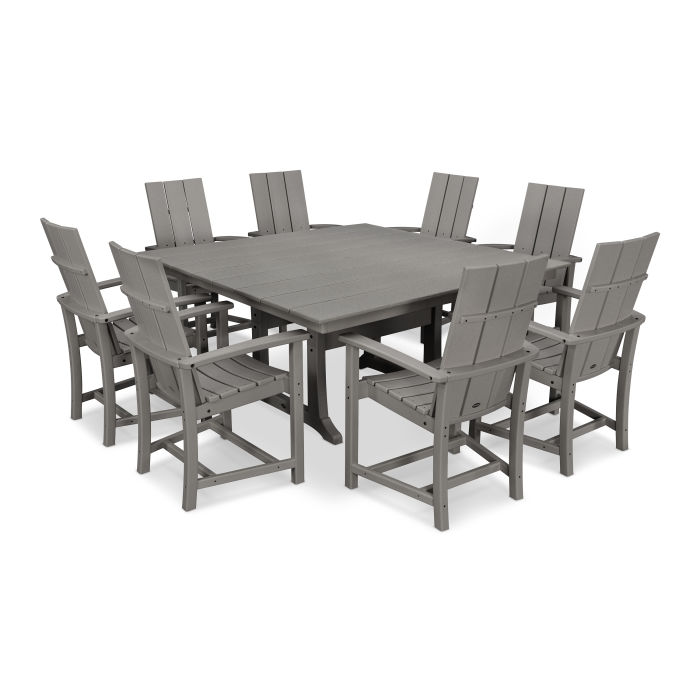 Modern Adirondack 9-Piece Farmhouse Trestle Dining Set