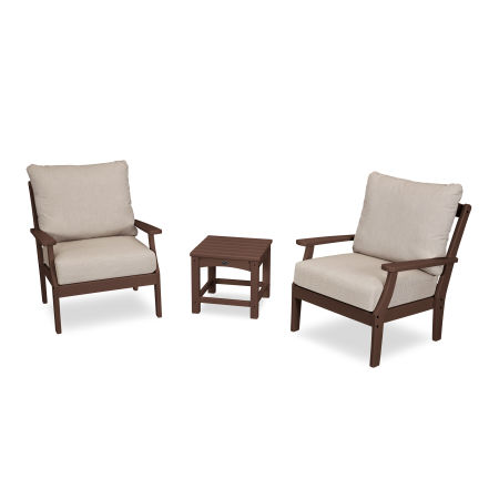 Yacht Club 3-Piece Deep Seating Set in Vintage Lantern / Cast Ash