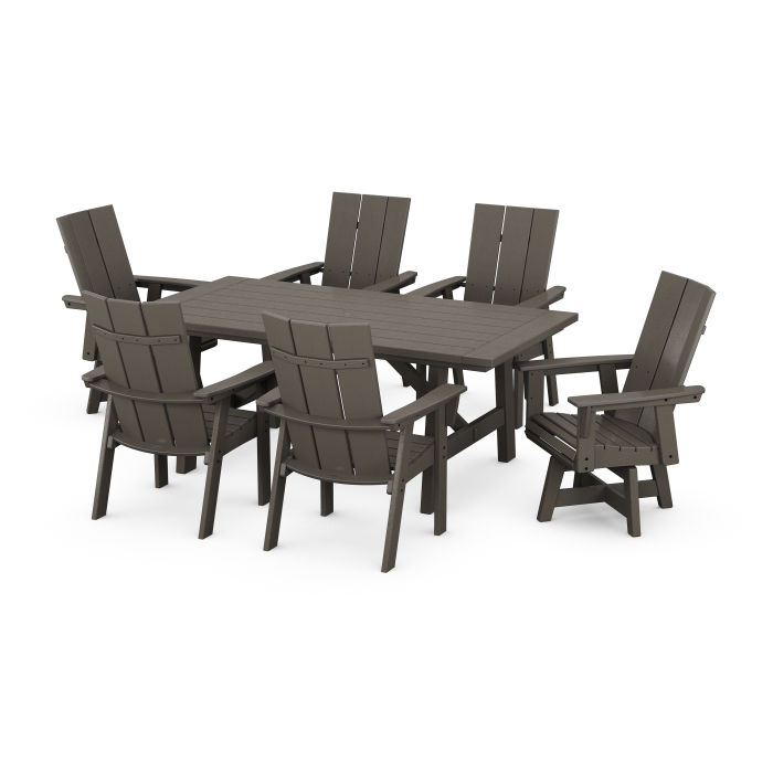 Modern Curveback Adirondack 7-Piece Rustic Farmhouse Swivel Dining Set in Vintage Finish