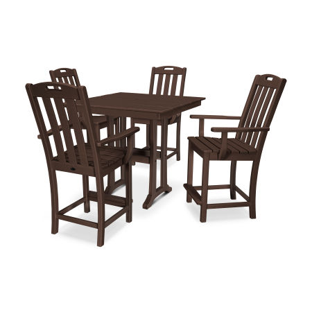 Yacht Club 5-Piece Farmhouse Arm Chair Counter Set in Vintage Lantern