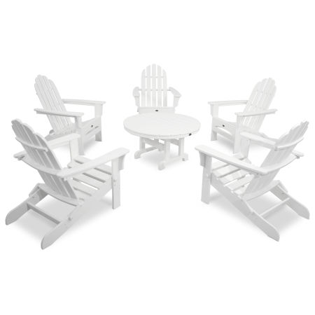 Cape Cod 6-Piece Folding Adirondack Conversation Set in Classic White