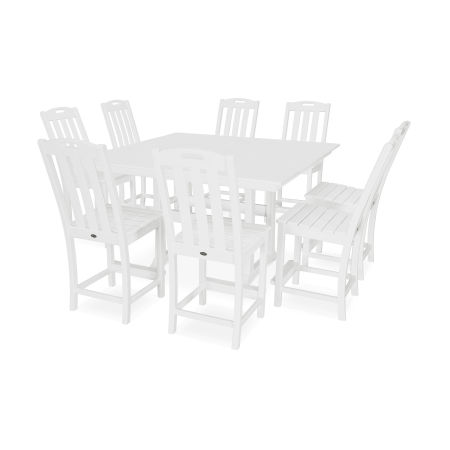 Yacht Club 9-Piece Farmhouse Side Chair Counter Set in Classic White
