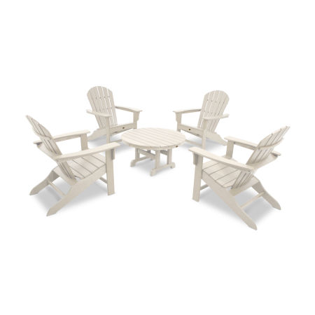 Yacht Club Shellback 5-Piece Adirondack Conversation Group in Sand Castle