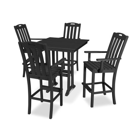 Yacht Club 5-Piece Farmhouse Arm Chair Bar Set in Charcoal Black