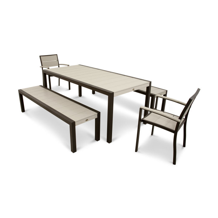 Surf City 5-Piece Bench Dining Set