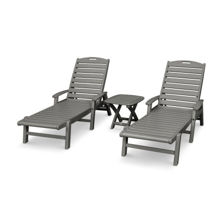 Yacht Club 3-Piece Chaise Set in Stepping Stone