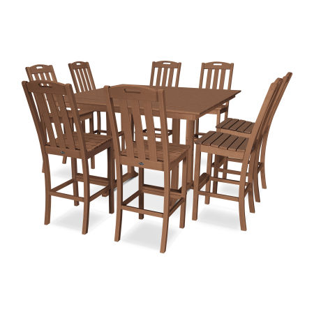 Yacht Club 9-Piece Farmhouse Side Chair Bar Set in Tree House