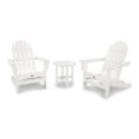 Cape Cod Folding Adirondack Set with Side Table in Classic White