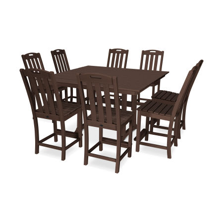 Yacht Club 9-Piece Farmhouse Side Chair Counter Set in Vintage Lantern