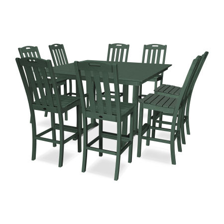Yacht Club 9-Piece Farmhouse Side Chair Bar Set in Rainforest Canopy