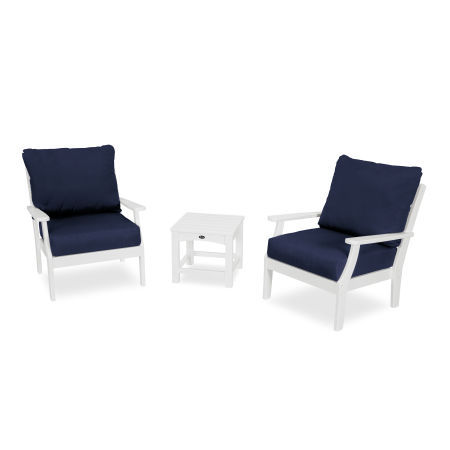 Yacht Club 3-Piece Deep Seating Set in Classic White / Navy