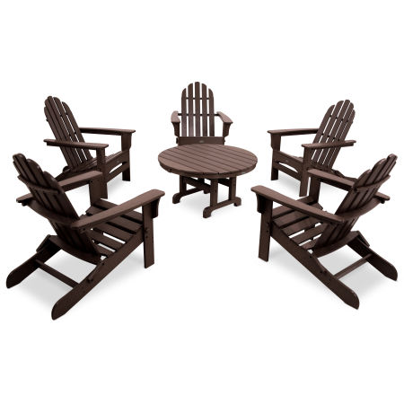 Cape Cod 6-Piece Folding Adirondack Conversation Set in Vintage Lantern