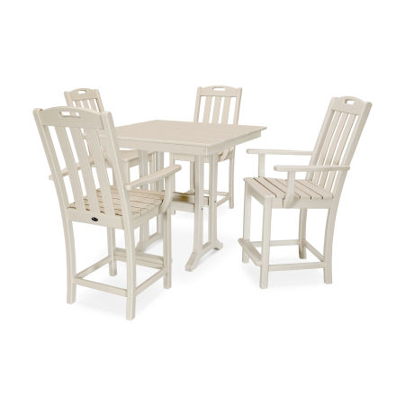 Yacht Club 5-Piece Farmhouse Arm Chair Counter Set in Sand Castle