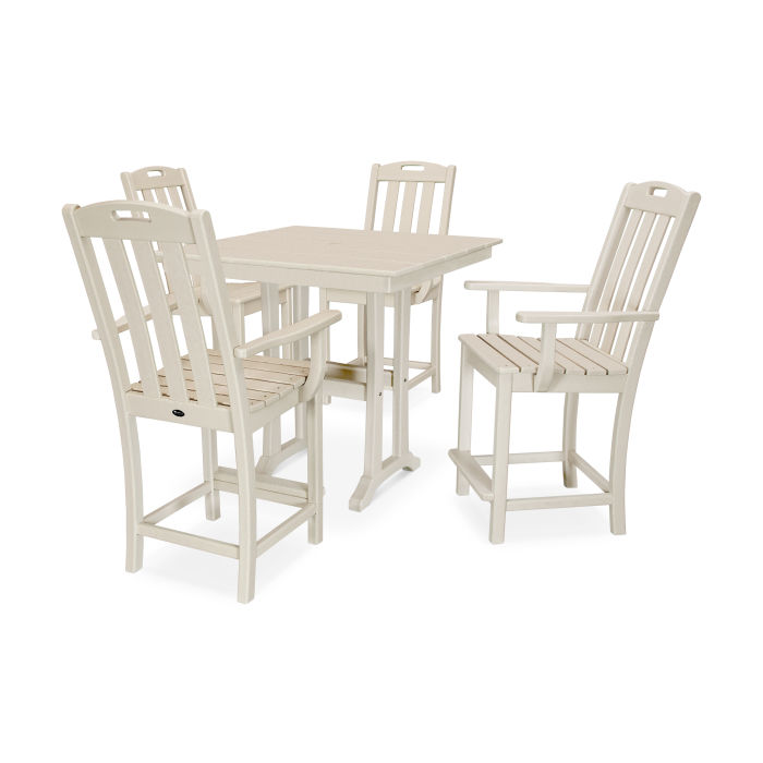 Yacht Club 5-Piece Farmhouse Trestle Arm Chair Counter Set