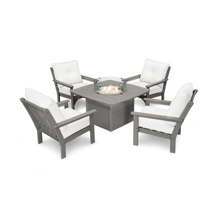 Vineyard 5-Piece Conversation Set with Fire Pit Table