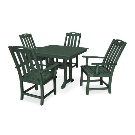 Yacht Club 5-Piece Farmhouse Arm Chair Dining Set in Rainforest Canopy