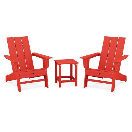 Eastport Modern Adirondack 3-Piece Set in Sunset Red