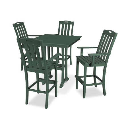 Yacht Club 5-Piece Farmhouse Arm Chair Bar Set in Rainforest Canopy