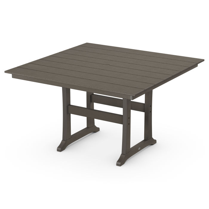 """Farmhouse Trestle 59"""" Counter Table in Vintage Finish"""