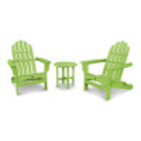 Cape Cod Folding Adirondack Set with Side Table in Lime