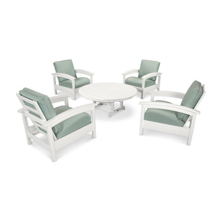 Rockport 5-Piece Deep Seating Set in Classic White / Spa