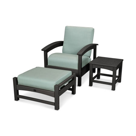 Rockport 3-Piece Deep Seating Set in Charcoal Black / Spa
